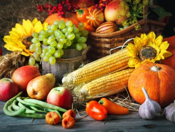Autumn Vegetable and Fruit as part of the dinner menu for thanksgiving