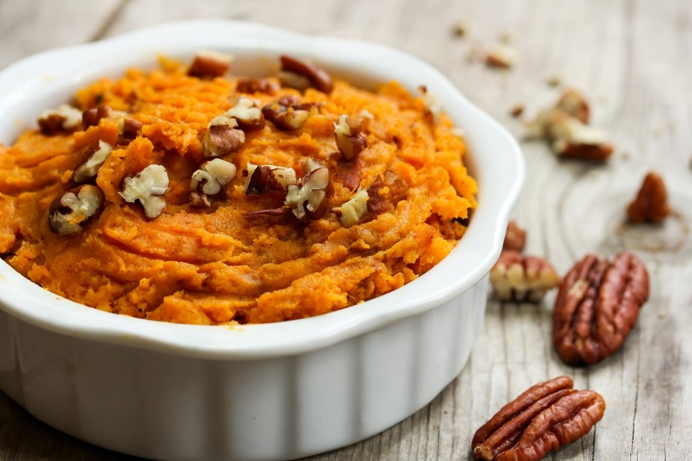Mashed sweet potatoes in a baking dish