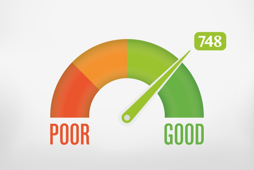 A credit score barometer pointing to a Good 748 score.